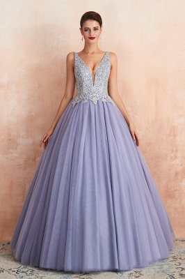 Elegant Lilac Sleeveless V-neck Appliques A-line Tulle Prom Dresses_3