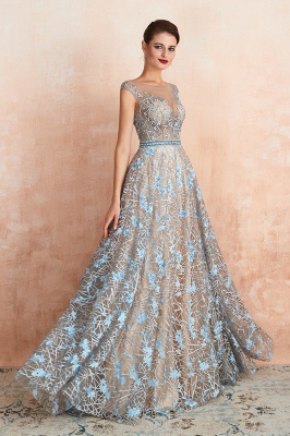 Elegant Jewel Sleeveless Appliques A-line Prom Dresses_5