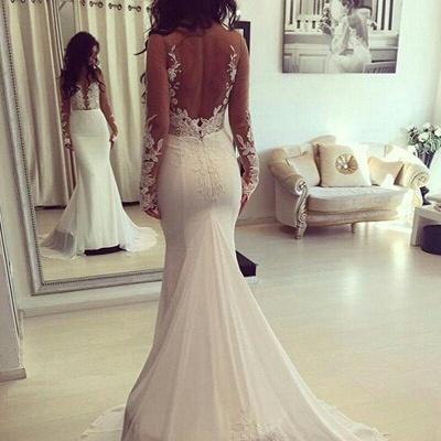 Elegant Mermaid Wedding Dresses   Long Sleeves Backless Bridal Gowns_2