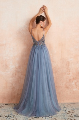 Sexy Spaghetti Straps Sheer A-line Tulle Prom Dresses with Side Slit_17