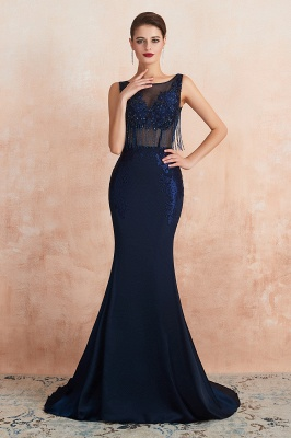 Luxury Dark Navy Applique Beaded Floor Length Mermaid Prom Dresses |Fitted Cheap Evening Dresses_2