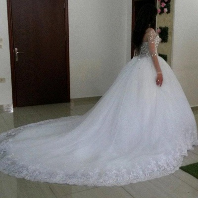 Glamorous Long Sleeves Ball Wedding Dresses Tulle Appliques Crytal Bridal Gowns_3