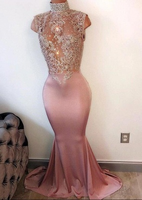 Modest High-Neck Sleeveless Prom Dress Mermaid Lace-Appliques Evening Gowns BA4598_3
