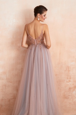 Sexy Spaghetti Straps Sheer A-line Tulle Prom Dresses with Side Slit_15