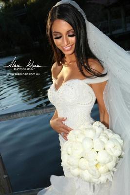 Elegant Crystal Ruffles Mermaid Sweetheart Wedding Dresses_2