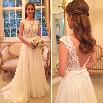 Elegant A-Line Zipper-Back Button Lace Tulle Wedding Dresses_3