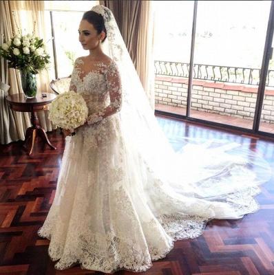 Royal Tulle Glamorous Sleeve Beadings Long Lace Wedding Dresses_3