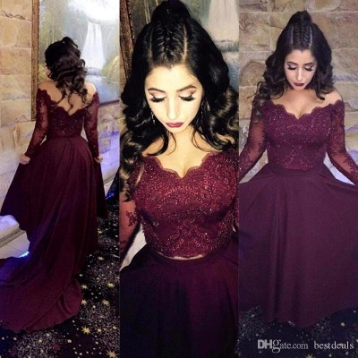 Newest A-line Hi low Beads Long-Sleeve Lace-Appliques Burgundy Prom Dress_2