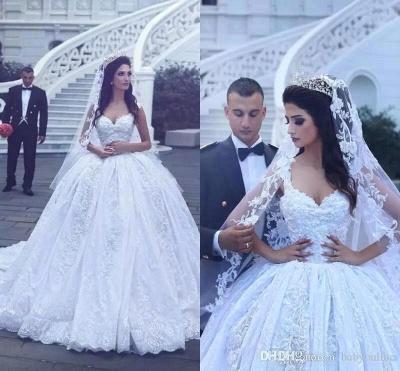 Elegant Ball-Gown Sleevesless Sweetheart Flowers Lace Wedding Dresses_3