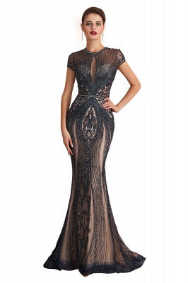 Jewel Keyhole Cap Sleeves Floor Length Beaded Black Prom Dresses_1