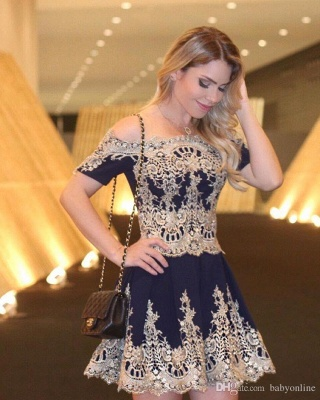 Short-Sleeves Latest Cheap Lace Navy Off-The-Shoulder Appliques Homecoming Dress_4