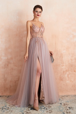 Sexy Spaghetti Straps Sheer A-line Tulle Prom Dresses with Side Slit_10