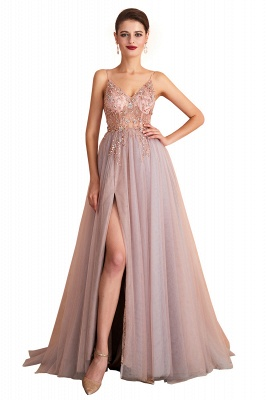 Sexy Spaghetti Straps Sheer A-line Tulle Prom Dresses with Side Slit_1