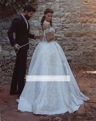 Off-The-Shoulder Ball-Gown Beaded Luxury Lace-Applique Wedding Dresses_4