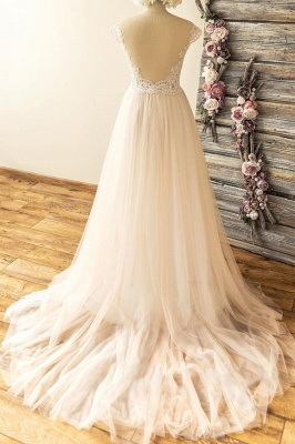 Straps Sweetheart  Lace Appliques Tulle Floor Length A-line Wedding Dresses_3