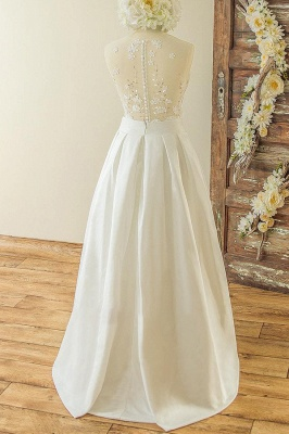 V-neck Sleeveless Lace Appliques A-line Casual Wedding Dresses_3