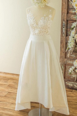 V-neck Sleeveless Lace Appliques A-line Casual Wedding Dresses_1
