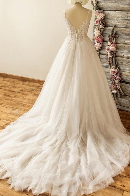 Straps Sweetheart  Lace Appliques Tulle Puff Fit and Flare Wedding Dresses_3