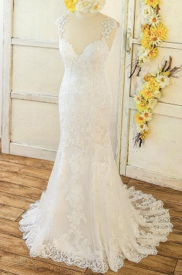 Sweetheart Straps Lace Appliques Beach Fit and Flare Wedding Dresses_1