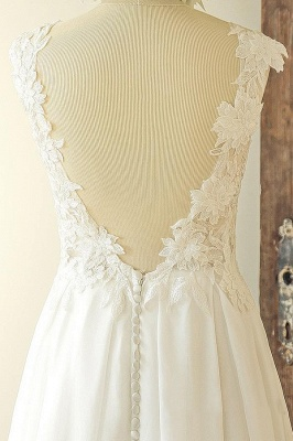Jewel Sleeveless Lace Appliques Simple A-line Wedding Dresses_4