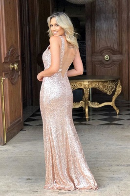 Straps V-neck Side Slit Gold Sequin Floor Length Prom Dresses_2