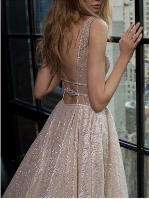 Glitter Straps V Neck A Line Prom Dresses | Backless Sequins Evening Dresses_3