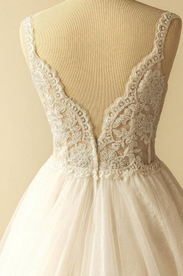 Straps Sweetheart  Lace Appliques Tulle Puff Fit and Flare Wedding Dresses_5
