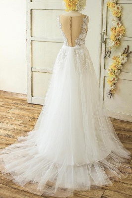 V-neck Sleeveless Appliques Tulle A-line Princess Wedding Dresses_3
