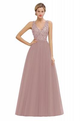 Straps V-neck Sheer Floor Length A-line Tulle Prom Dresses_1