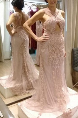 Classic Keyhole Cross Straps Beaded Pink Fitted Prom Dresses_2