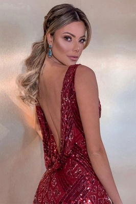 Sparkly Straps V-neck Fitted Red Prom Dresses | Cheap Long Evening Dresses_2