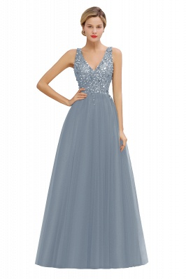 Straps V-neck Sheer Floor Length A-line Tulle Prom Dresses_6