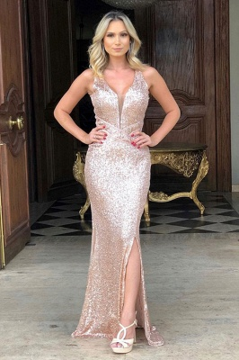 Straps V-neck Side Slit Gold Sequin Floor Length Prom Dresses_1