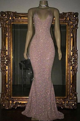 Stunning Sequins Mermaid Prom Dresses | Shiny Spaghettis Straps Evening Gowns_2