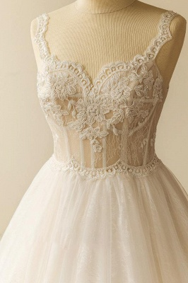 Straps Sweetheart  Lace Appliques Tulle Puff Fit and Flare Wedding Dresses_4
