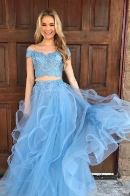 Chic Off-shoulder V-neck Floor-length Tulle Appliques Two-piece Prom Dresses_3