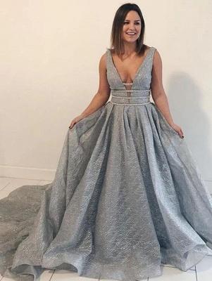 Glitter Straps V Neck A Line Prom Dresses | Backless Sequins Evening Dresses_4