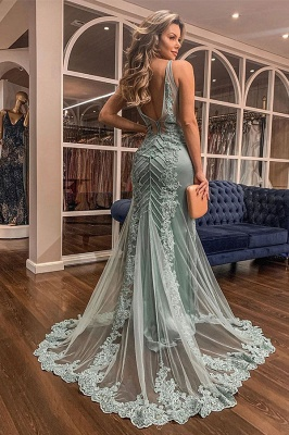 Straps V-neck Sheer Sweep Train Fitted Mint Prom Dresses_2
