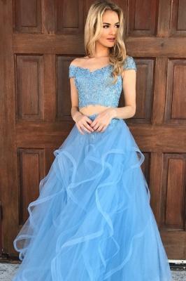 Chic Off-shoulder V-neck Floor-length Tulle Appliques Two-piece Prom Dresses_2