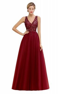 Straps V-neck Sheer Floor Length A-line Tulle Prom Dresses_2
