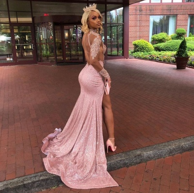 High Neck Lace Appliques High Slit Long Sleeves Mermaid Prom Dresses_4