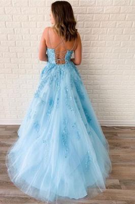 Criss-cross Straps A-line Lace Appliques Tulle Blue Prom Dresses_2
