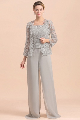 Modern Silver Chiffon Mother of Bride Pants Set with Lace Jacket