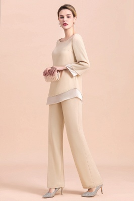 Bateau 3/4 Sleeves Chiffon Champagne Mother of Bride Pants Suits_5