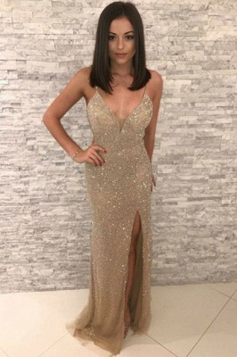 Straps Fitted Gold Sparkly Prom Dresses with Slit | Sequin Evening Dresses_1