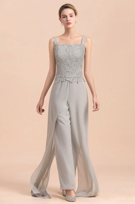 Modern Silver Chiffon Mother of Bride Pants Set with Lace Jacket_10