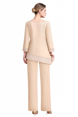 Bateau 3/4 Sleeves Chiffon Champagne Mother of Bride Pants Suits_9
