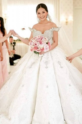 Luxury Off the Shouder Crystal Princess Ball Gown Wedding Dresses with Sweep Train_2