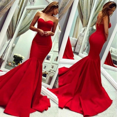 Red Sweetheart  Fit and Flare Backless Floor Length Mermaid Prom Dresses   Cheap Fitted Evening Dresses_3