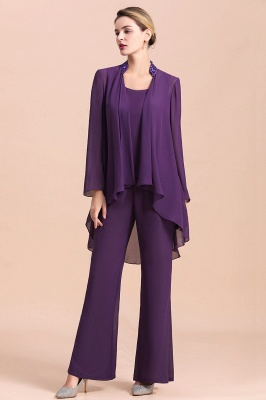 Fashion Grape Chiffon Mother of Bride Pants Suits t with Jacket